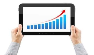 Sales graph on tablet PC