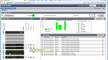 The standard view on the management Dashboard provides a complete overview of all installed blades and their power consumptio