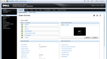 Dell's iDRAC6 controller provides web browser access to a good range of remote management tools.