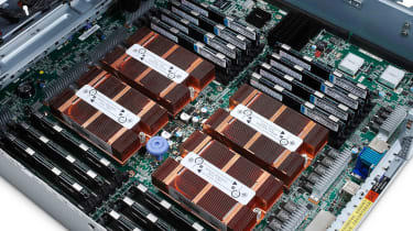 The x3755 M3 and its four Opteron 6172 processors have an impressive number of physical cores.
