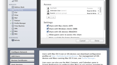 You can easily set up share points which iOS clients can access through WebDAV, making it easier to share files to iPad and i