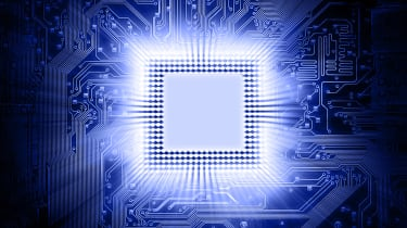 Abstract image of a glowing central processing unit on a blue circuit board