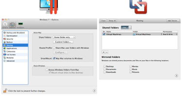 Parallels Desktop 7 and VMWare Fusion 4 can both share folders and other resources with a guest OS.