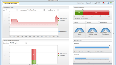 The new Dashboard in this latest version provides a useful overview of monitored systems and policy compliance.