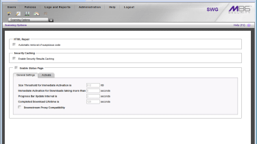 The dynamic web repair feature sanitises web pages and is activated for all policies from a single check box.