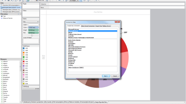 Using the Connect to Data wizard you can work with most types of database, either using a live link to the source or importin