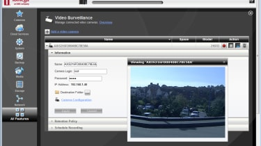The standard video surveillance feature provides live views of IP cameras as well as scheduled recordings.