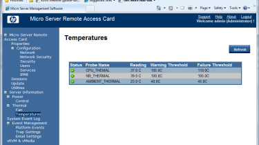 The RAC web console lets you remotely monitor critical components and keep an eye on internal temperatures.