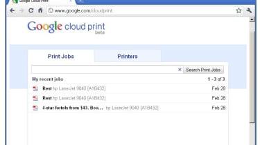 A Google Cloud Print printing queue
