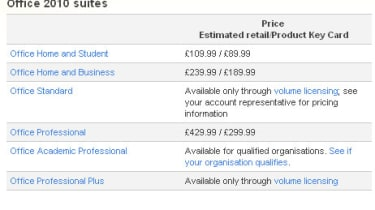 The pricing for Office 2010 greatly depends on what edition of the sutie you want