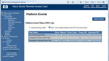 System events can be tied in with HP's Platform Event Filters so email alerts can be sent out if certain hardware problems oc