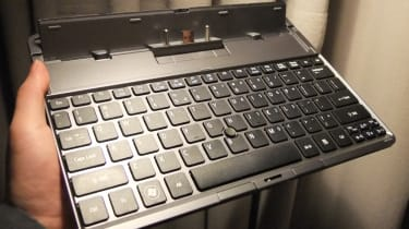 A close up of the Acer Iconia Tab W500 keyboard dock