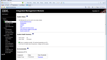 The server has an embedded IMM which provides web browser access for remote management.