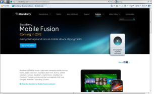 BlackBerry Mobile Fusion website homepage