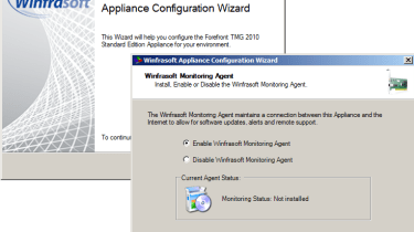 Winfrasoft's own installation wizard helps with initial appliance configuration.