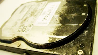 A fire damaged hard disk from the University's server