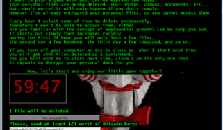 Ransomware code on a computer screen with a count down