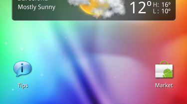 The HTC Flyer's homescreen oriented vertically