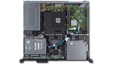 The interior of the Dell PowerEdge R210 II as seen from above.