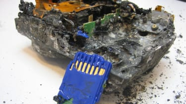 Computer Weekly's fire damaged camera and SD memory card