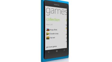 The blue Nokia Lumia 800