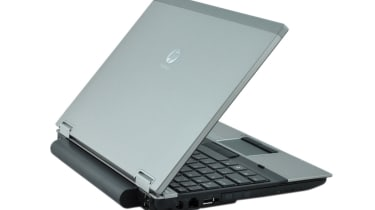 The battery noticeably protrudes from the rear of the HP EliteBook 2540p