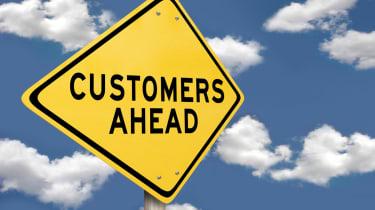 Customers ahead sign