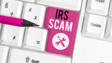 """""""IRS"""" scam written on a keyboard"""