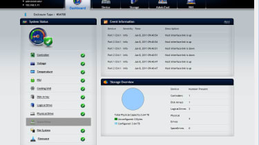 The appliance's newly designed web interface provides a useful dashboard showing the status of all components and drives.