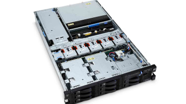 The IBM System x3755 M3 with its top panel removed