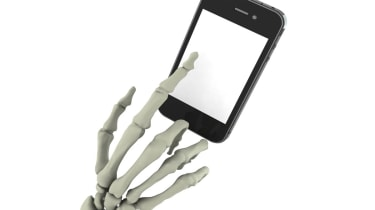 Skeleton with mobile phone