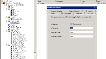 Trunk configuration in SwyxWare.