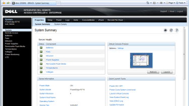 Dell's latest iDRAC6 remote controller sees a much improved web interface with many more features.