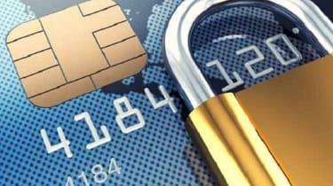 Credit card with padlock
