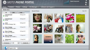 The Motoportal Web management interface on the Atrix