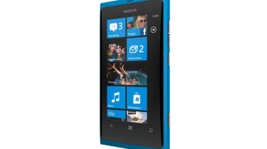 The blue Nokia Lumia 800
