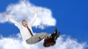 Business person on cloud
