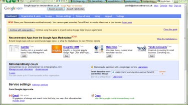 The Google Apps admin page is cluttered with adverts for new features and third-party tools.