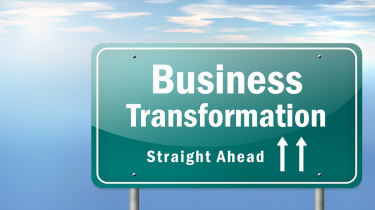 Business transformation road sign