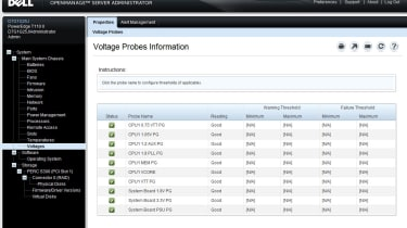 The web interface can also be used to keep an eye on critical areas such as system voltages.