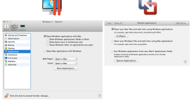 Certain tasks within the guest OS can be linked to host OS applications — the email client and web browser, for example.