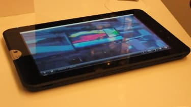 The Toshiba Tablet sitting on a table