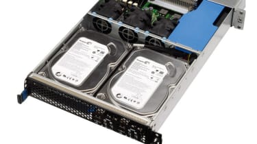 The hard disks in a compute node tray from a Broadberry CyberServe X34-Q104