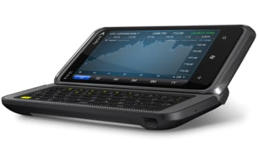 The HTC 7 Pro with its physical keyboard visible