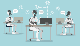 Robot chatbot employees in a call centre powered by AI