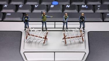 security figures on keyboard