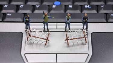security figures on keyboard