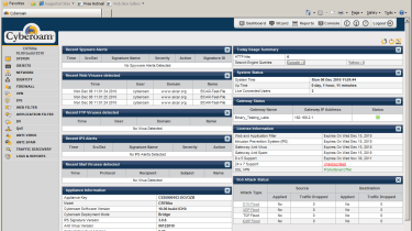 The newly designed dashboard provides much more information about detected security threats and appliance status.