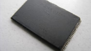The cleaned and extracted memory chip from the SD card
