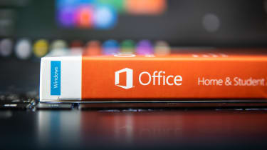 Microsoft Office software packaged in its physical form on a table